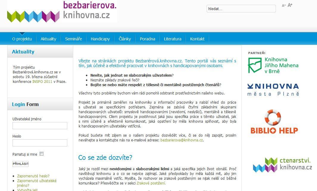 Obr. 3: Portál bezbarierova.knihovna.cz