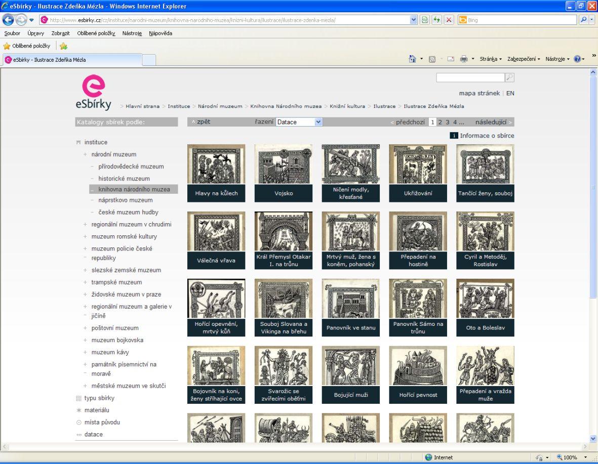 Ilustrace Zdeňka Mézla na portálu eSbírky – přehled jednotlivých sbírkových předmětů