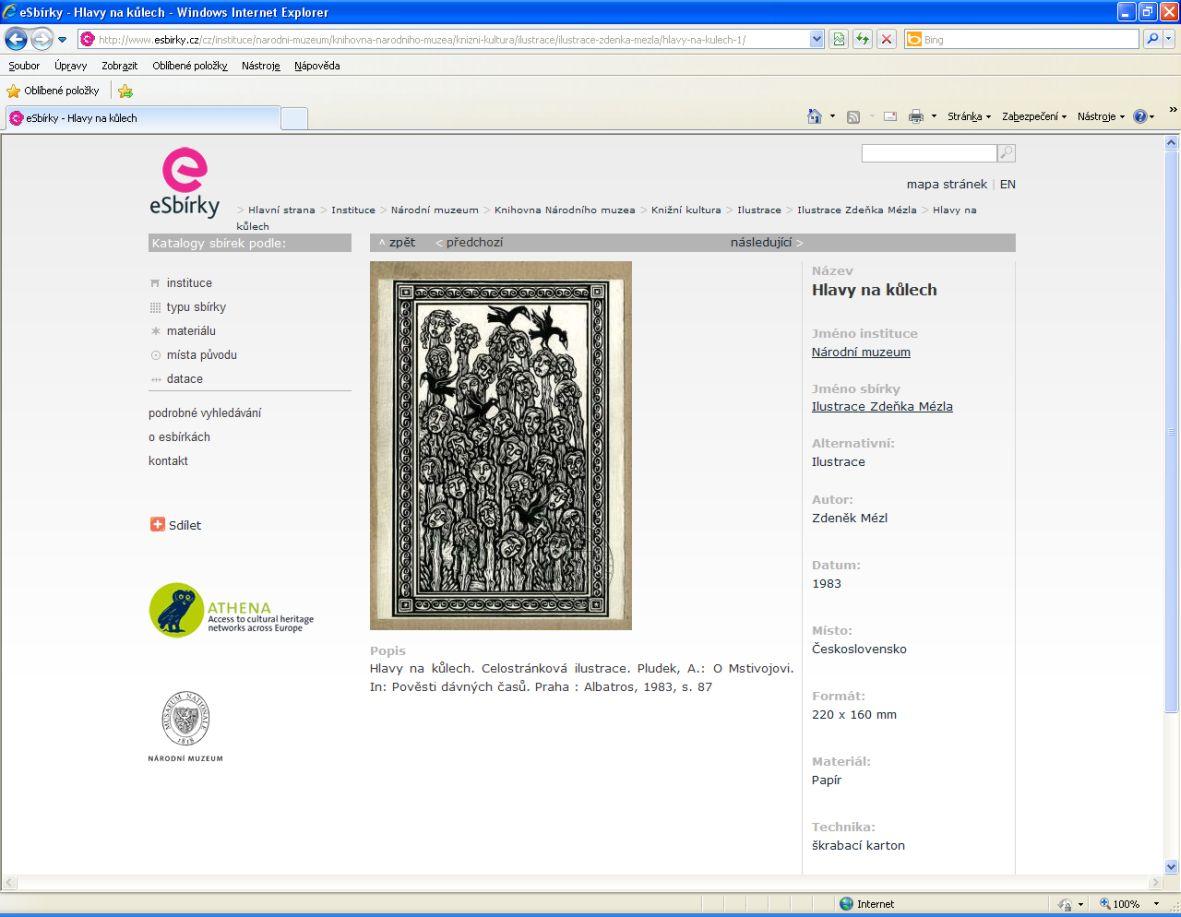Ilustrace Zdeňka Mézla na portálu eSbírky – náhled skenu a podrobné informace o sbírkovém předmětu