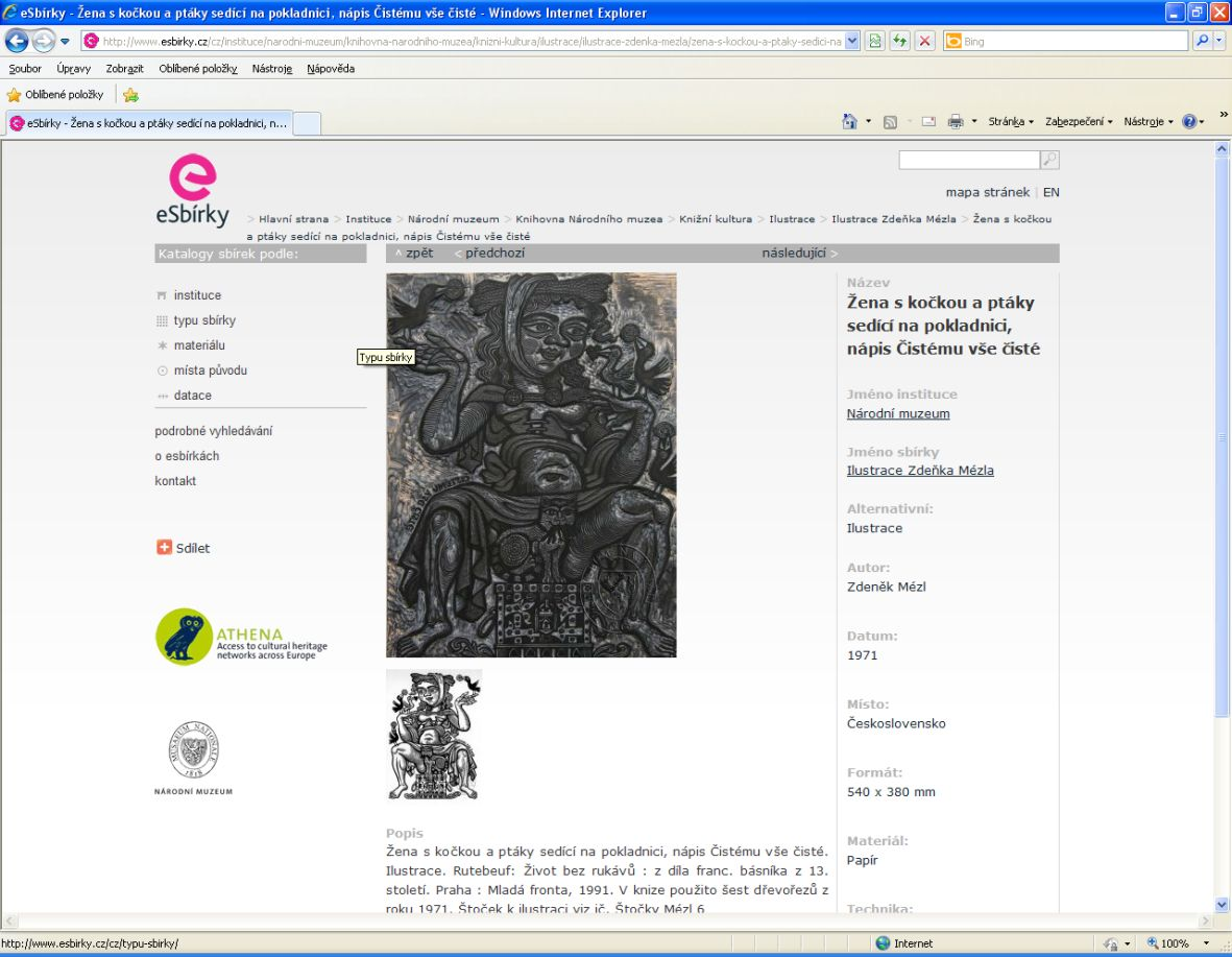 Ukázka dřevořezového štočku kilustraci, který oddělení knižní kultury spolu sjinými štočky uchovává. Badatel tak může srovnat tiskovou formu a výsledný otisk ilustrace