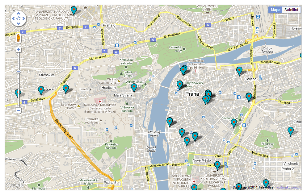 Mapa vybraných míst v rámci projektu