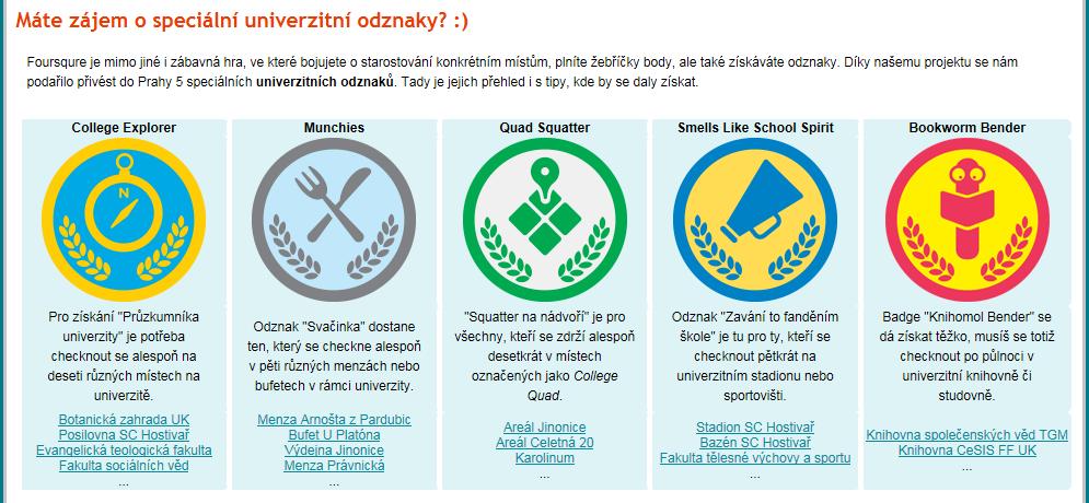 Přehled speciálních univerzitních odznaků
