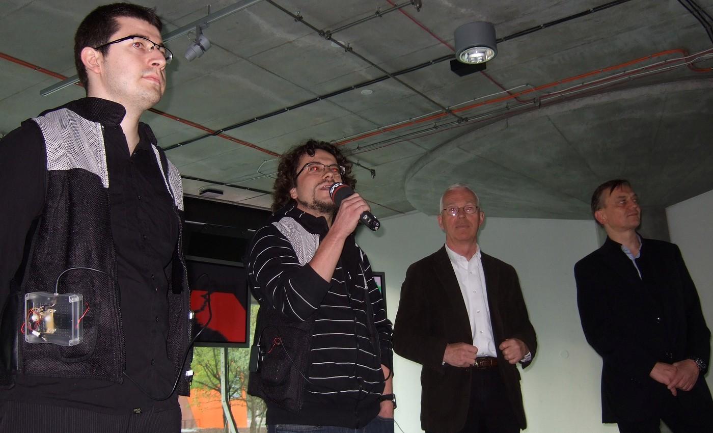 Zahájaní výstavy v galerii NTK. Zleva: Andrej Boleslavský, Pavel Sedlák, Martin Svoboda a Pavel Smetana