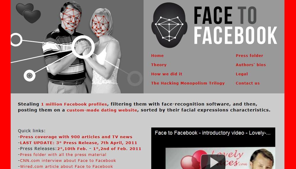 Webová stránka projektu Face to Facebook