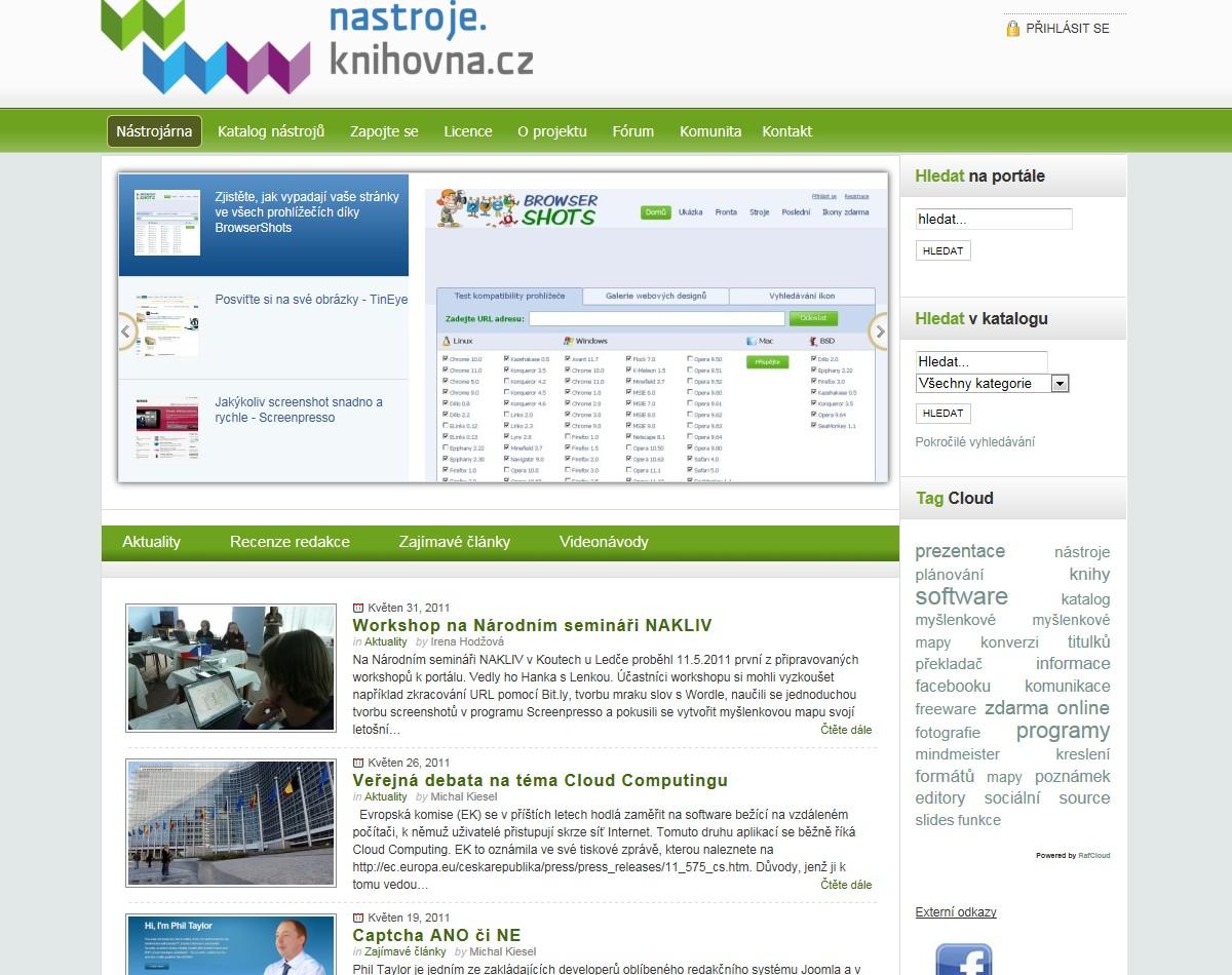 Hlavní stránka portálu - novinky a nástrojárna