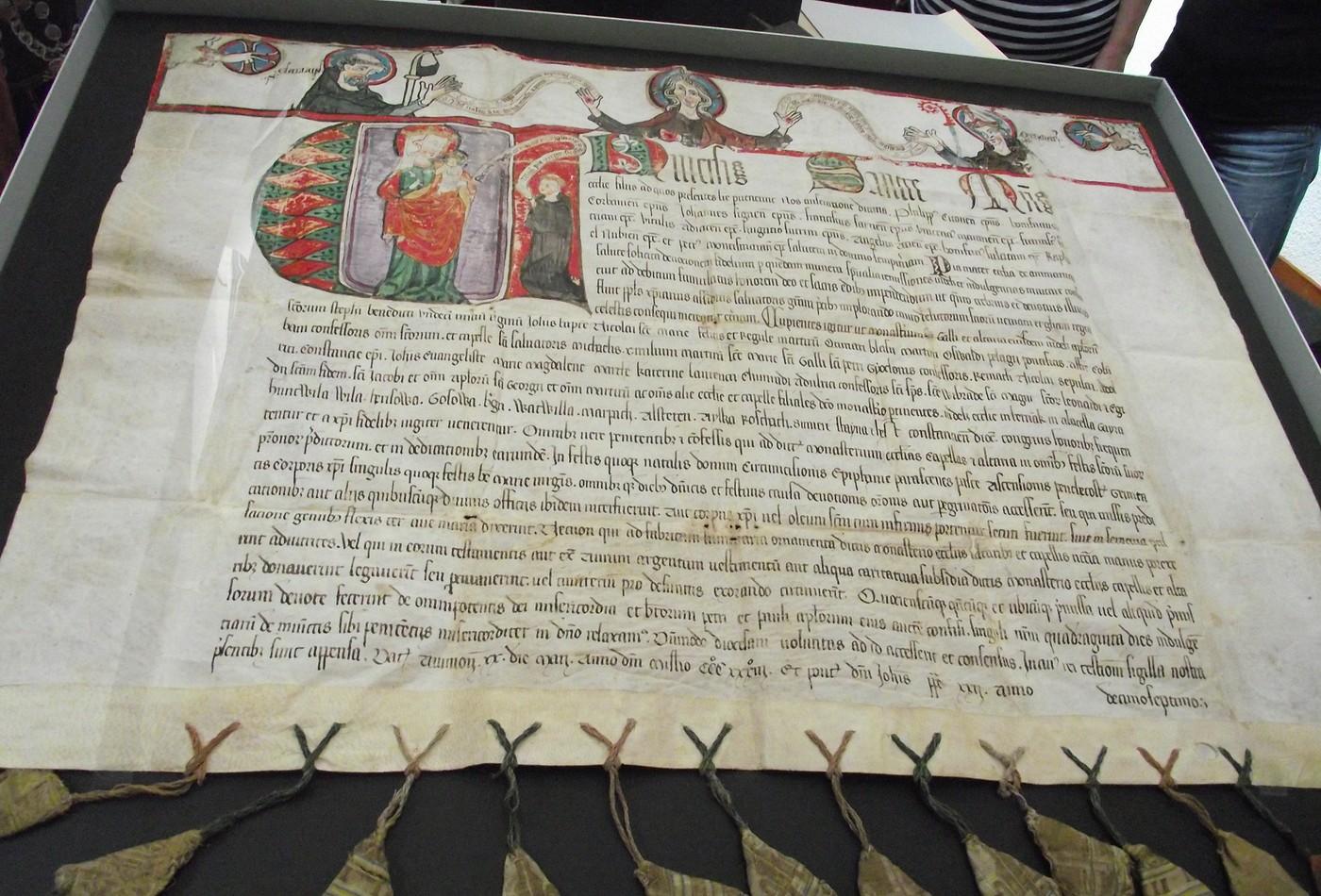 Listina v klášterním archivu v St. Gallen