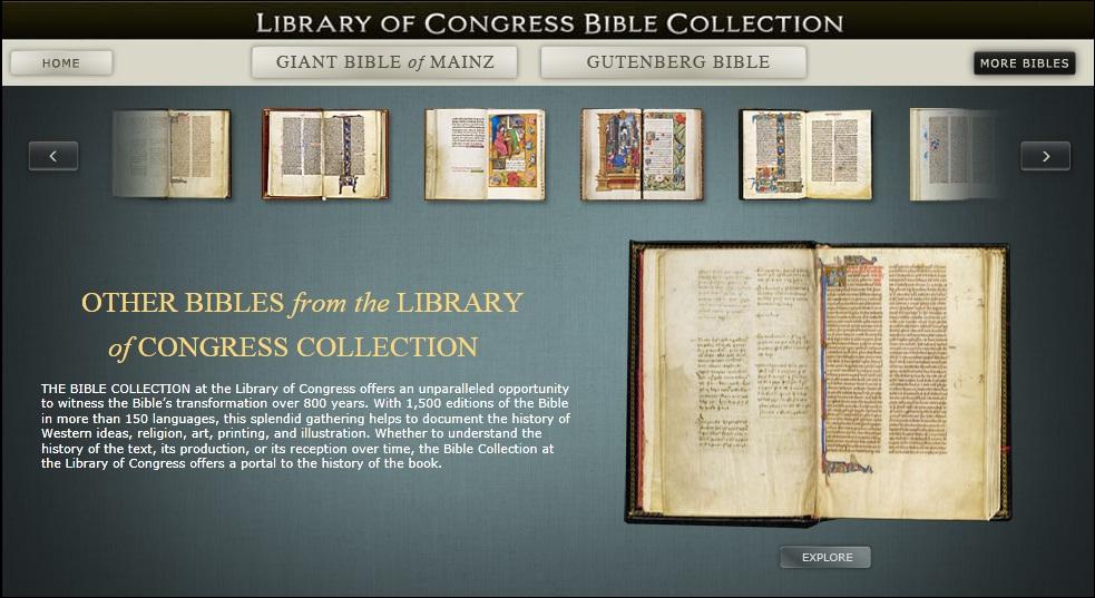 Obr.4: Virtuální Sbírka Biblí Kongresové knihovny