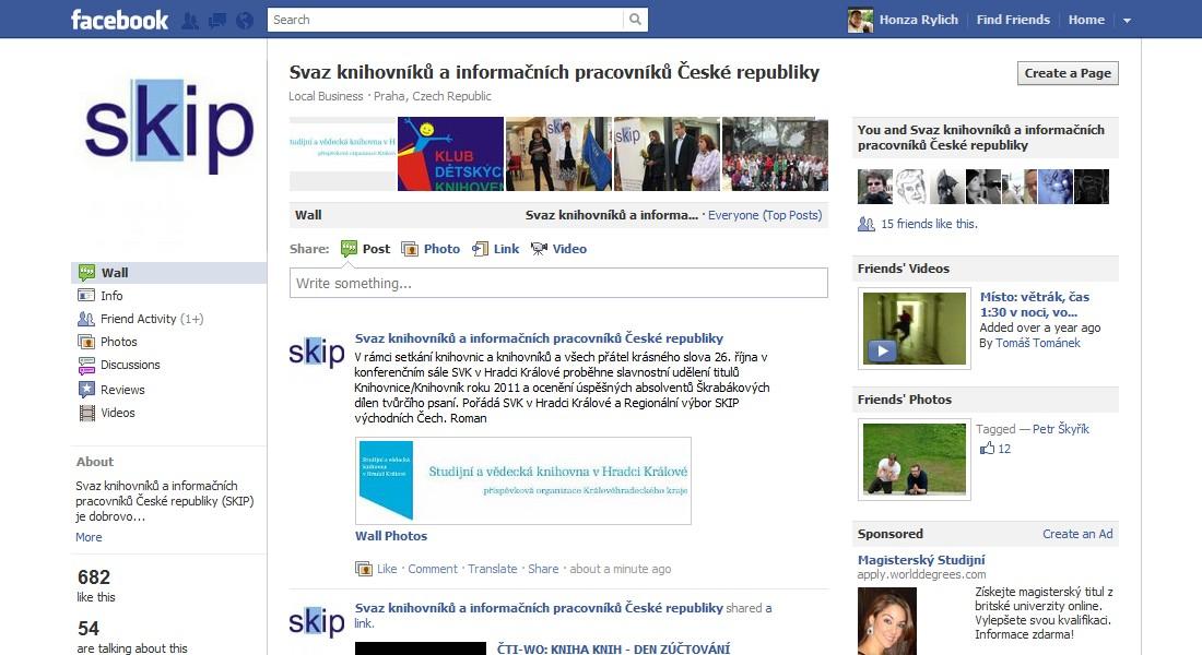 Stránka SKIP ČR na Facebooku