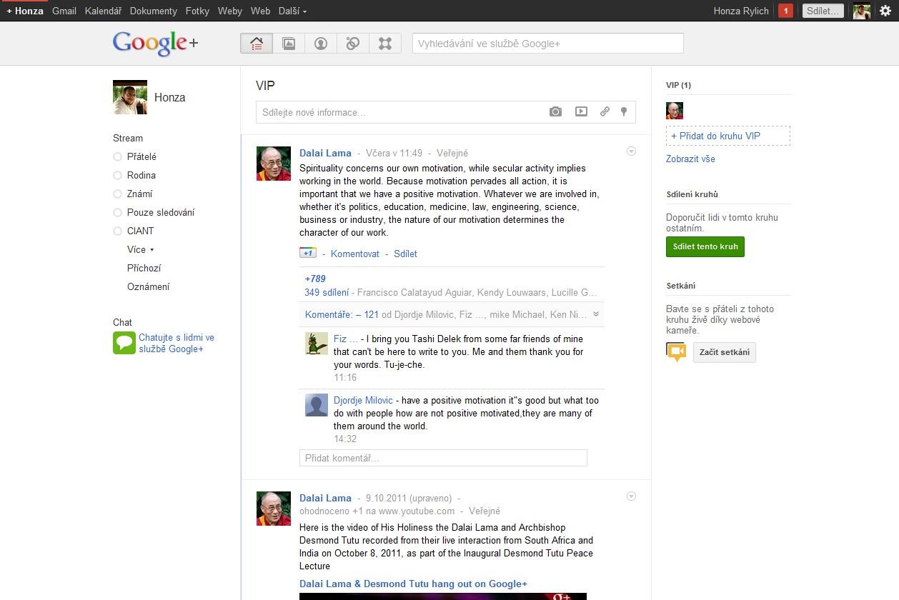Hlavní stránka Google Plus