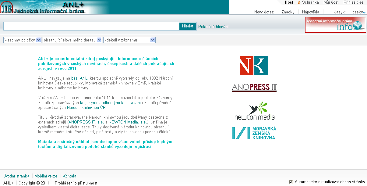 Úvodní stránka ANL+