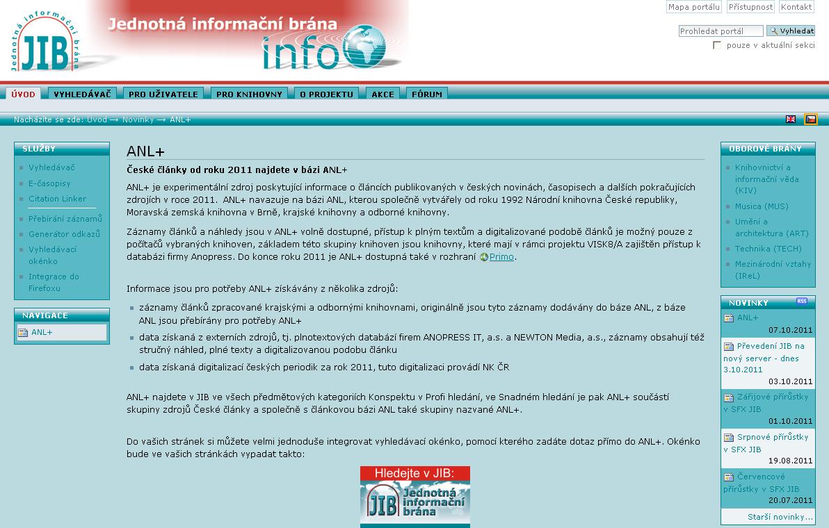 Báze ANL+ v Jednotné informační bráně