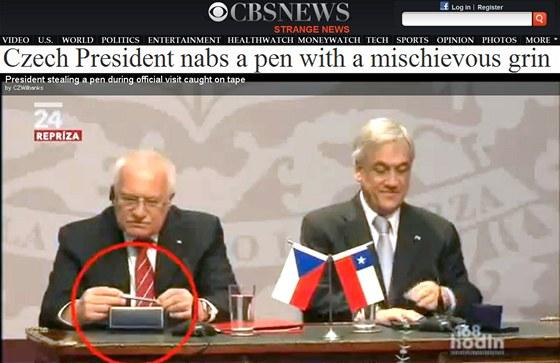 Video s prezidentem Klausem obletělo i světová média