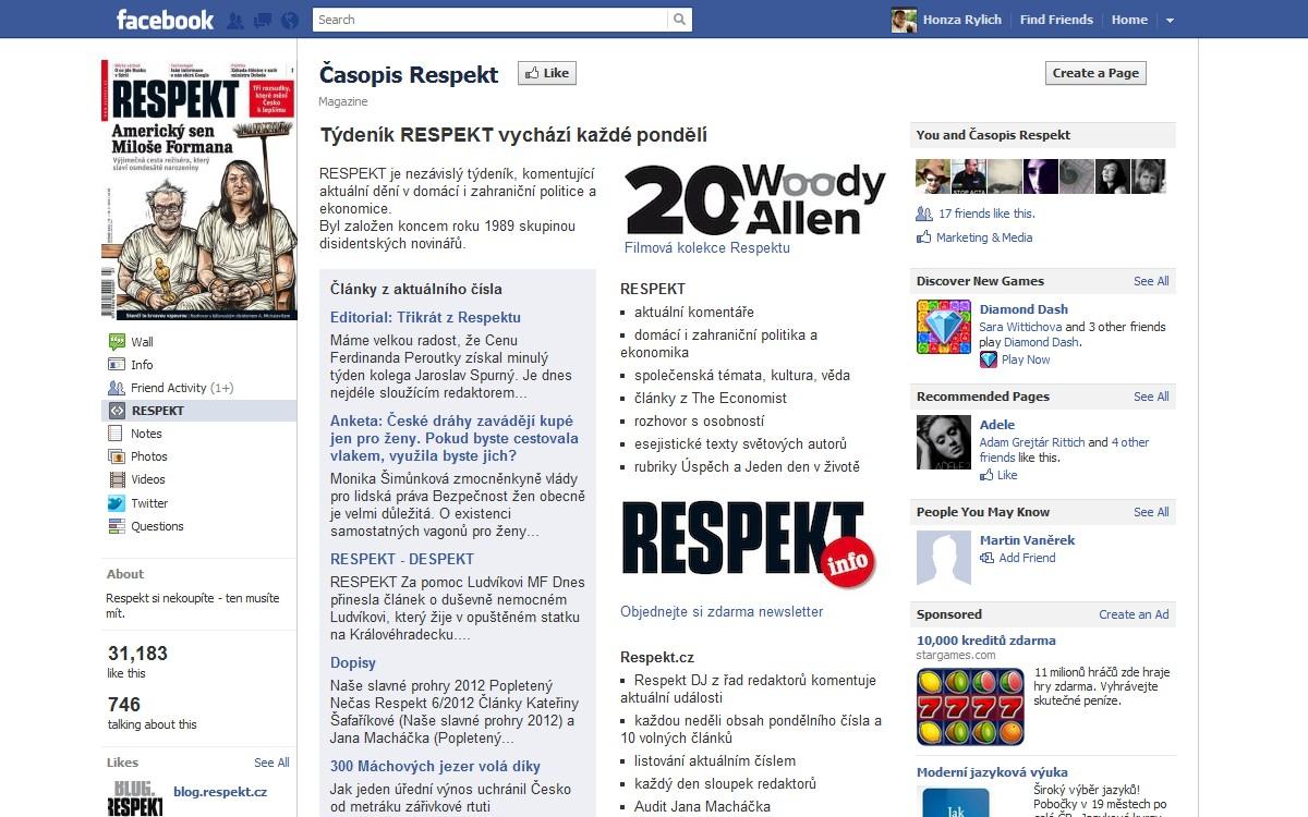 Stránka Respektu na Facebooku zaujme na první pohled
