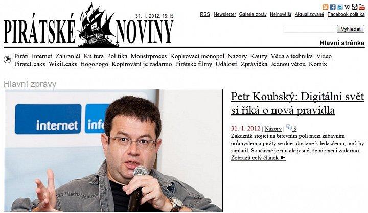 Screenshot Pirátských novin s přetištěným článkem z Lidových novin