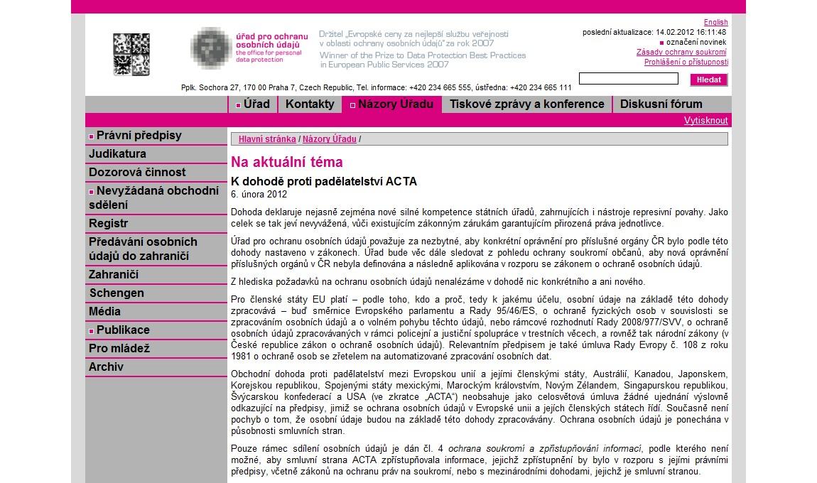 Text vyjádření Úřadu na ochranu osobních údajů k dohodě ACTA