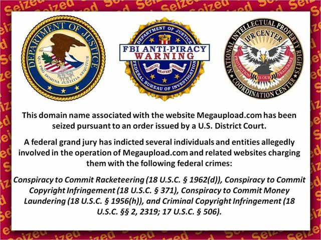 V současné době je na stránkách megaupload.com pouze varování FBI
