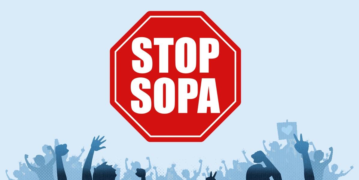 Logo STOP SOPA se v různých variacích objevovalo téměř všude