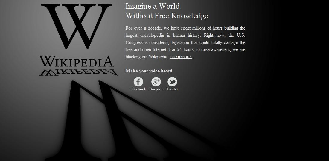 Odpojená anglická verze Wikipedie se stala symbolem lednového protestu