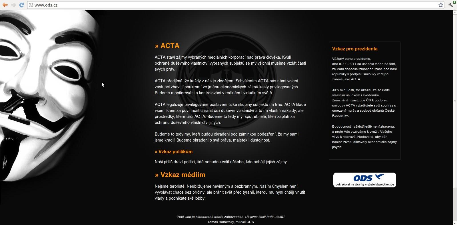 Výzva kritizující dohodu ACTA se dostala až na webové stránky ODS