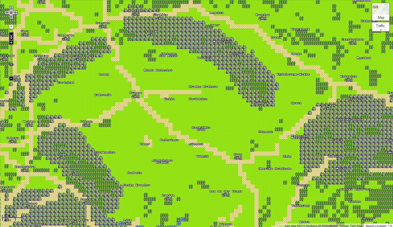 Google Maps v osmibitové grafice