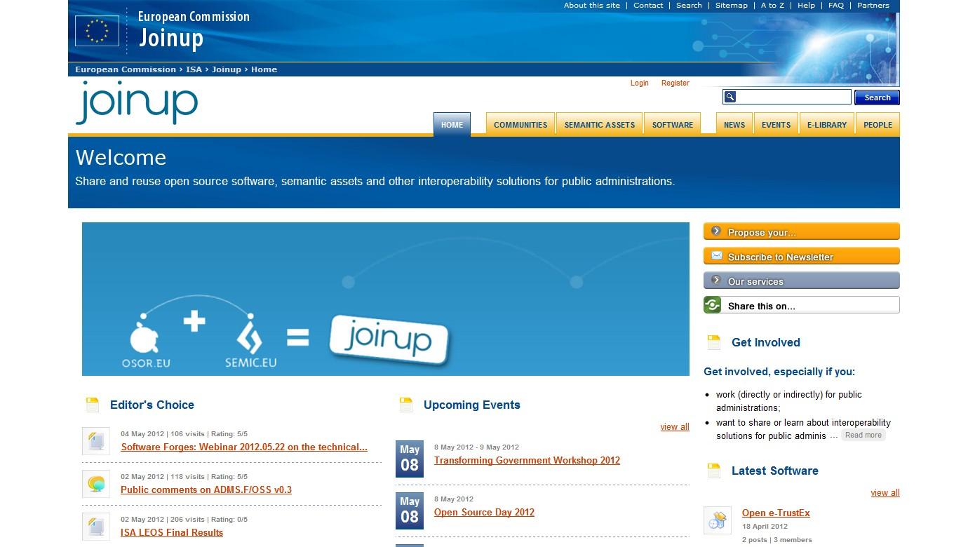 Webová prezentace portálu joinup.eu