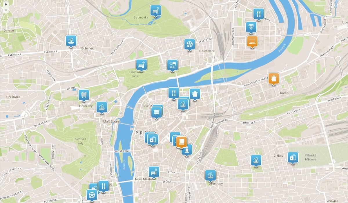 zobrazení populárních míst v centru Prahy (památky, restaurace, divadla apod.). Podobné zobrazení ve formě mapy má dnes většina geoslužeb, včetně geocachingu.