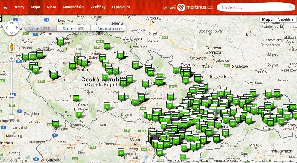 Aktuální mapa knih zapojených do projektu Knihoběžník