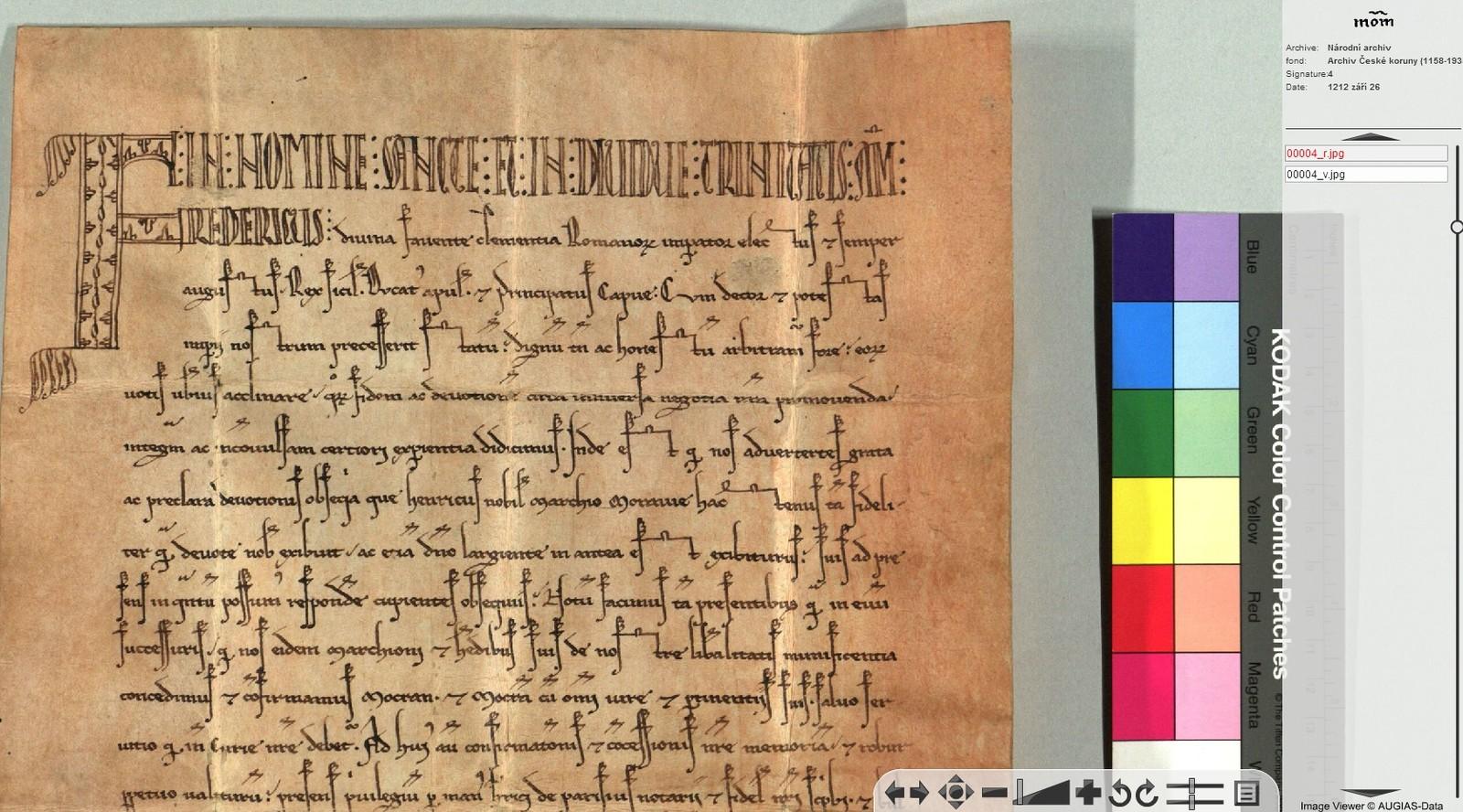 Zlatou bulu i jiné důležité dokumenty je možné studovat také on-line, vrámci projektu Monasterium