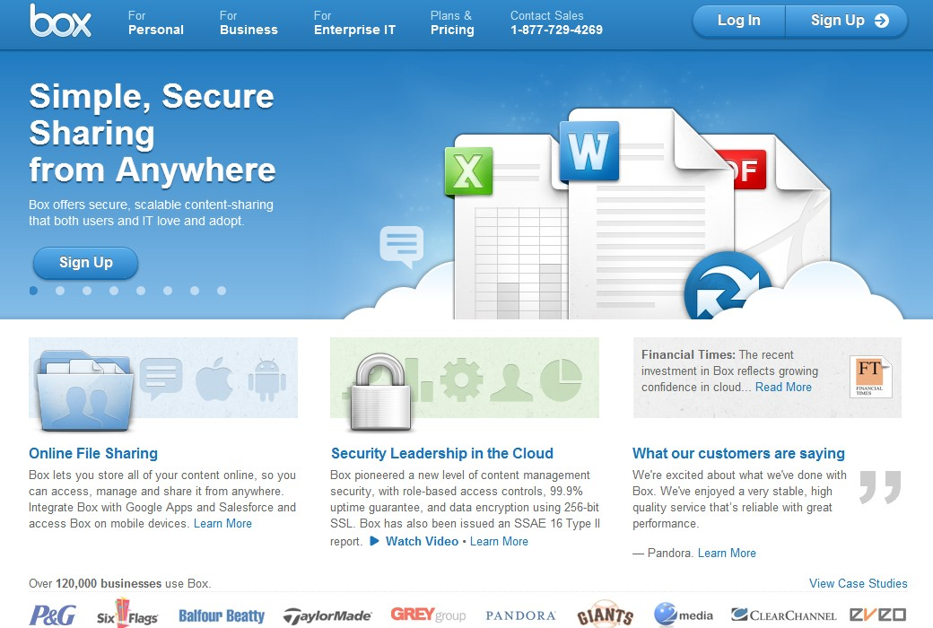 Webové stránky cloudové služby Box.com