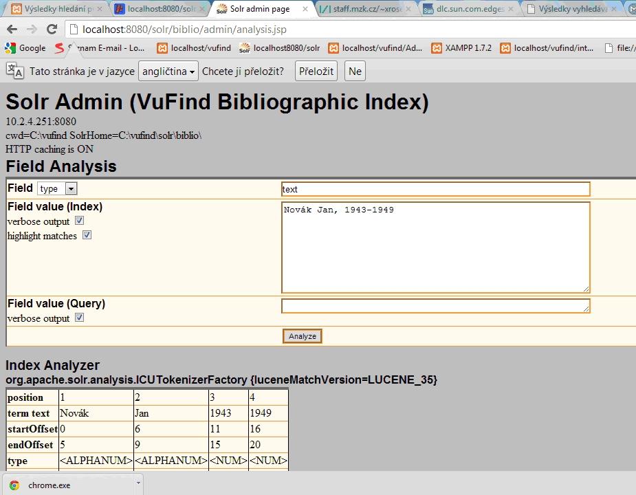 Databáze Solr má vlastní webovské admin rozhraní, kde lze sledovat rozklad importovaných textů
