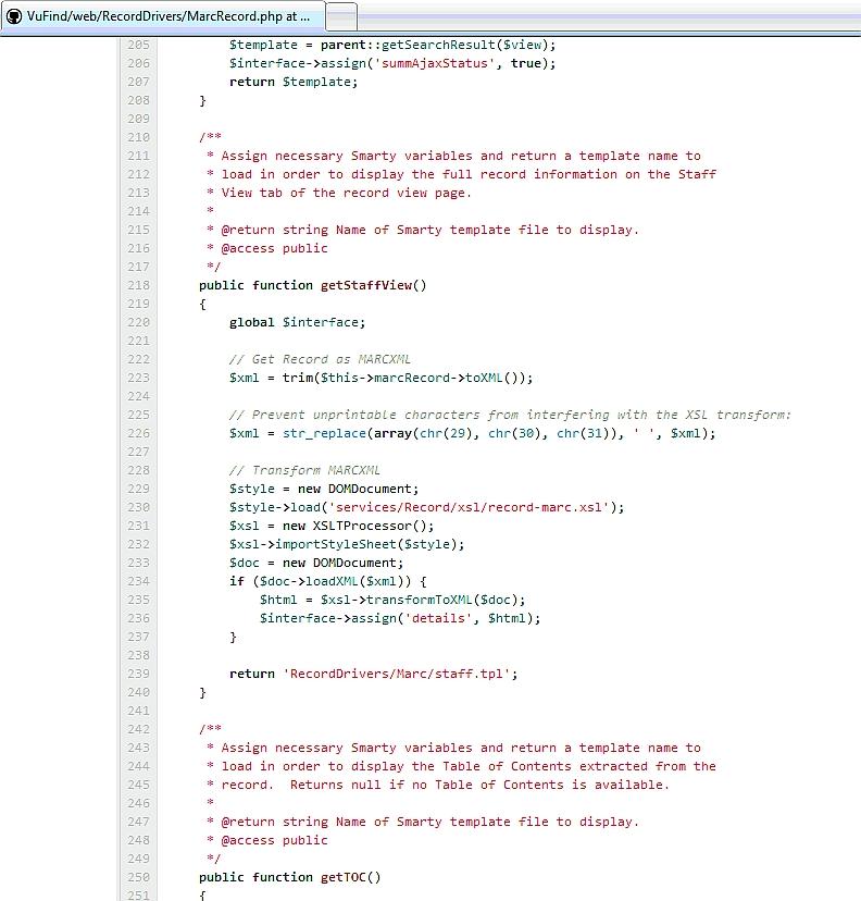 Část programu na zobrazení záznamu (MarcRecord.php)