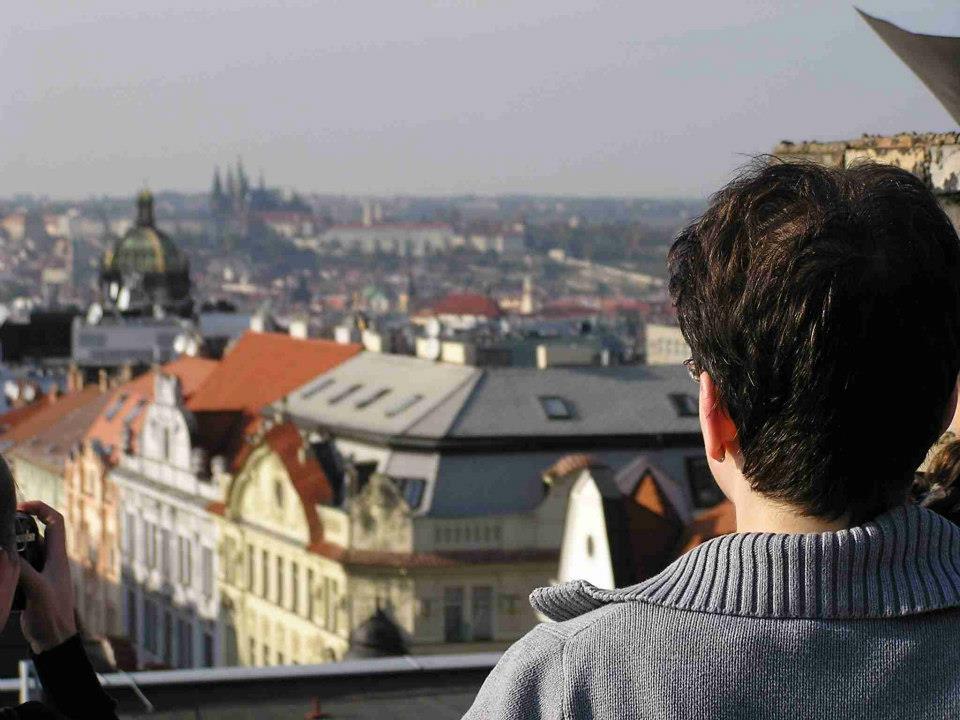 Pohled na Prahu ze střechy knihovny