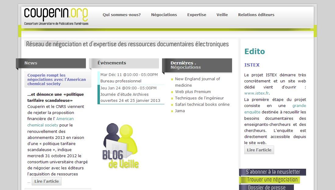 Webové stránky konsorcia Couperin