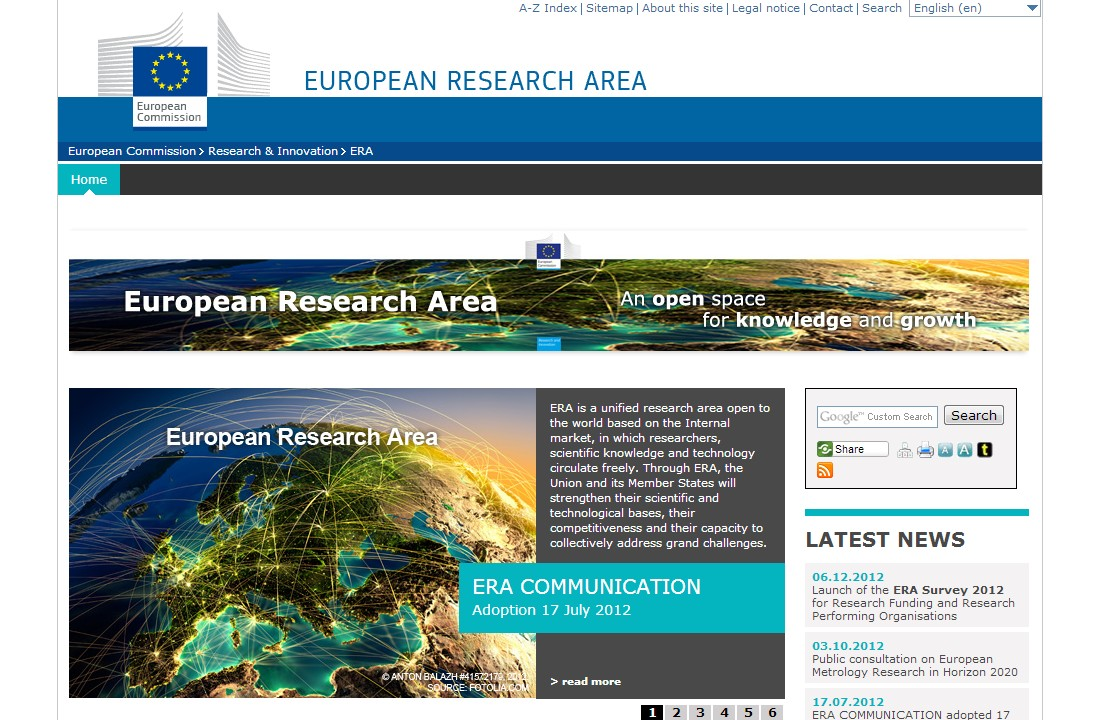 Webové stránky Evropského výzkumného prostoru (ERA)