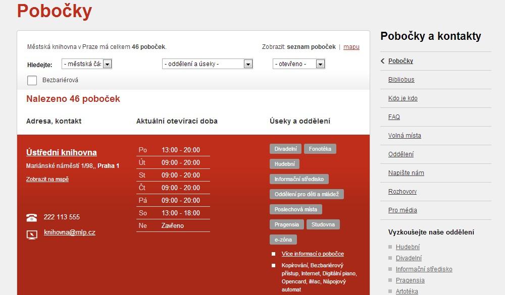 Ukázka z přehledu poboček a otevíracích dob na webových stránkách MKP