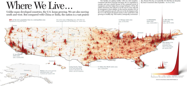 Vizualizace hustoty obyvatelstva v USA