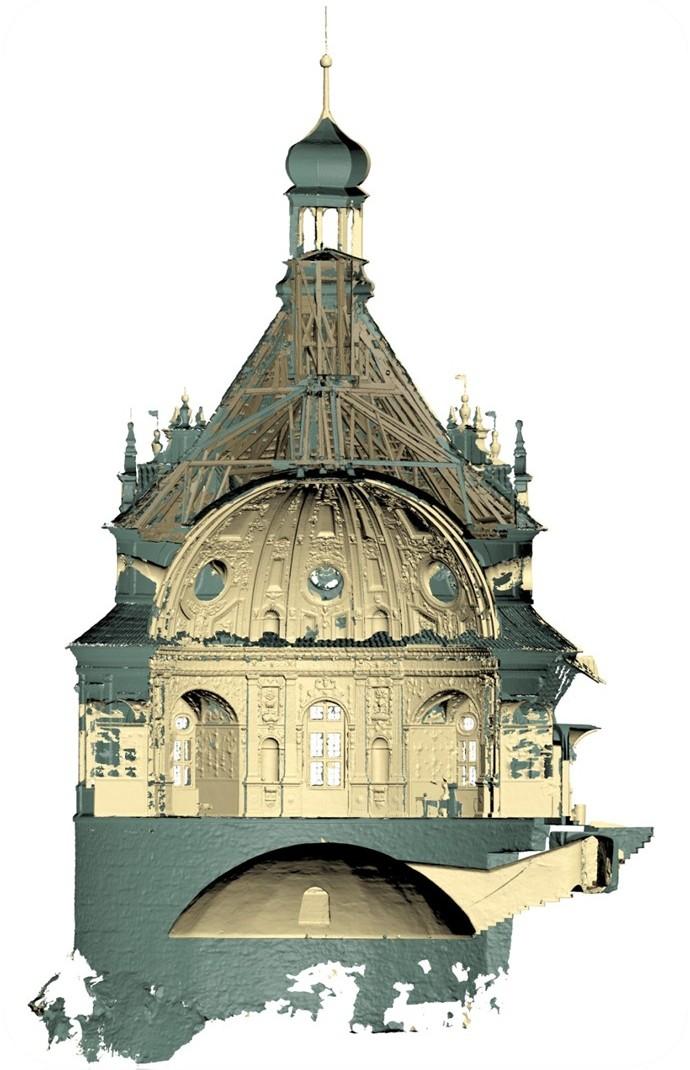 Řez 3D modelem kupole jindřichohradeckého zámku