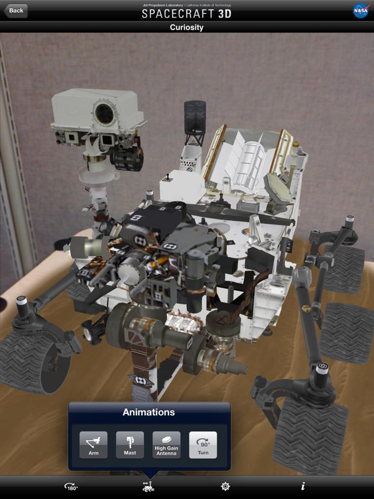 Výsledný 3D model sondy Curiosity na obrazovce iPadu