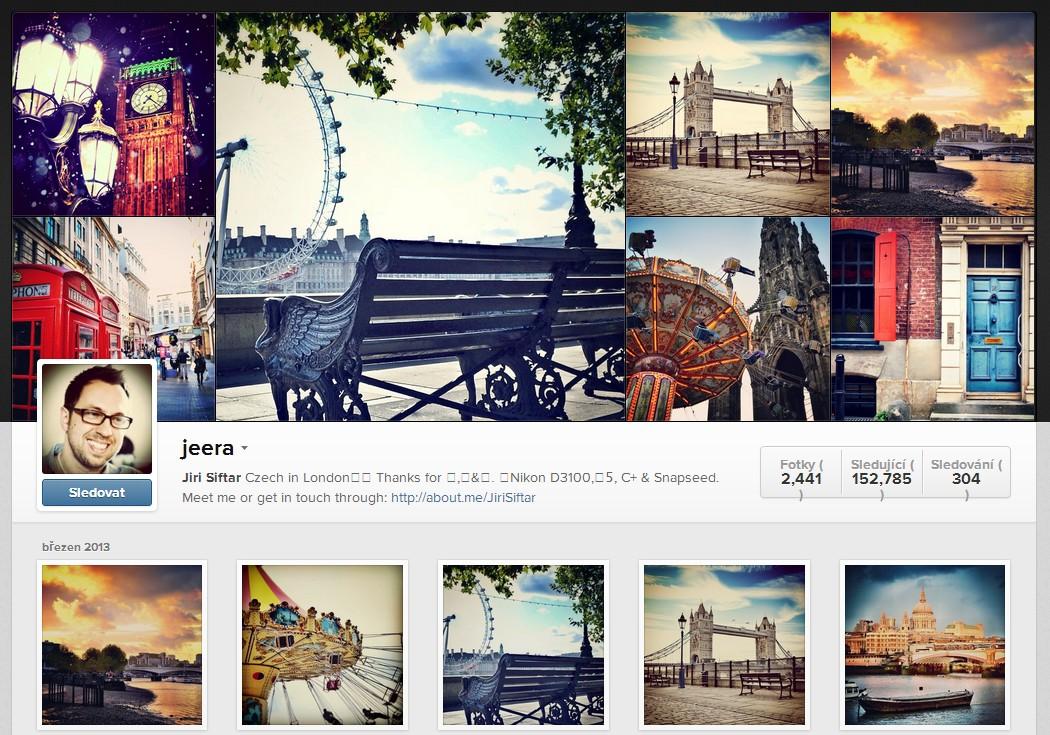 Profil Jiřího Šiftaře na Instagramu