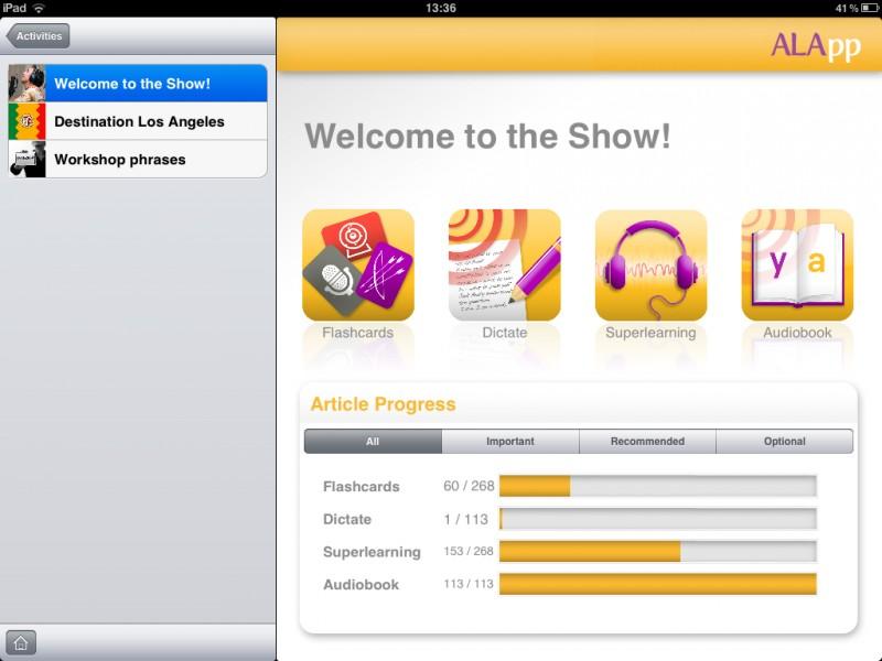 Ukázka z jazykové aplikace ALApp