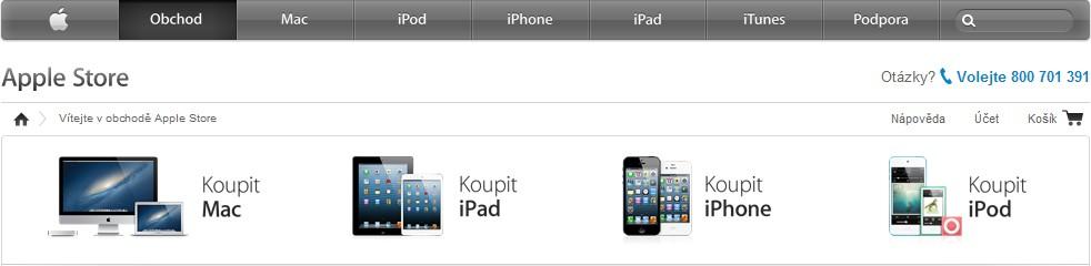 Aktuální nabídka produktů na Apple Store