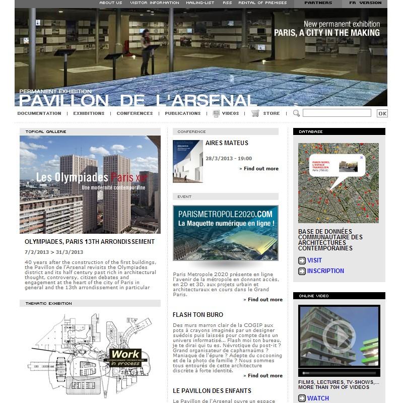Webové stránky architektonického centra Pavillon de l'Arsenal