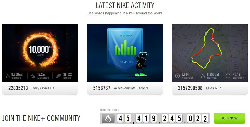 Webové stránky Nike+