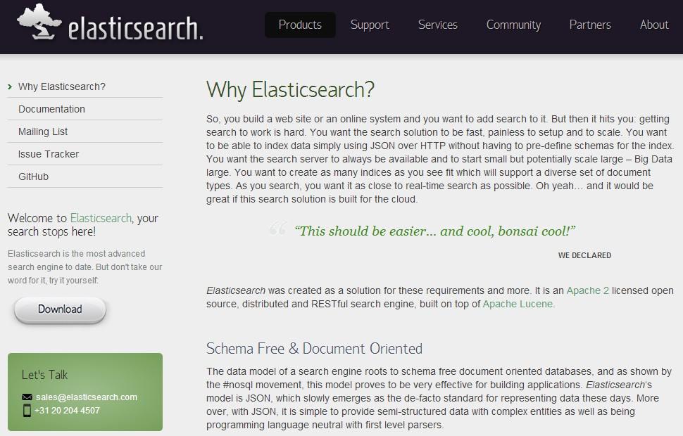 Webová prezentace Elasticsearch