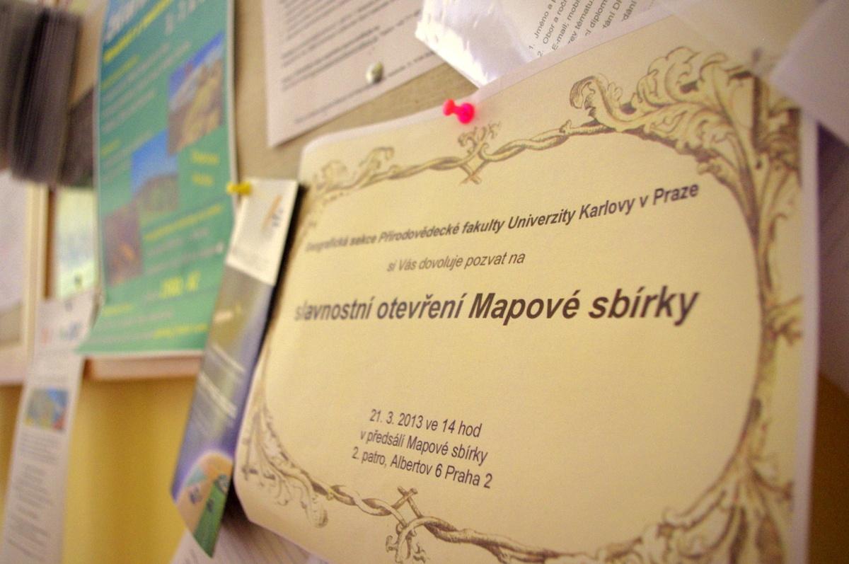 Pozvánka na otevření Mapové sbírky