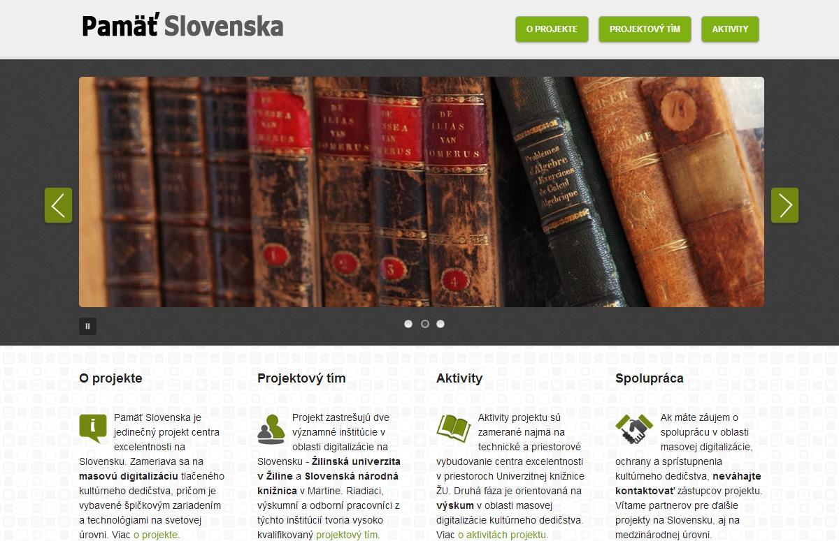 Webové stránky pamatslovenska.mediamatika.sk