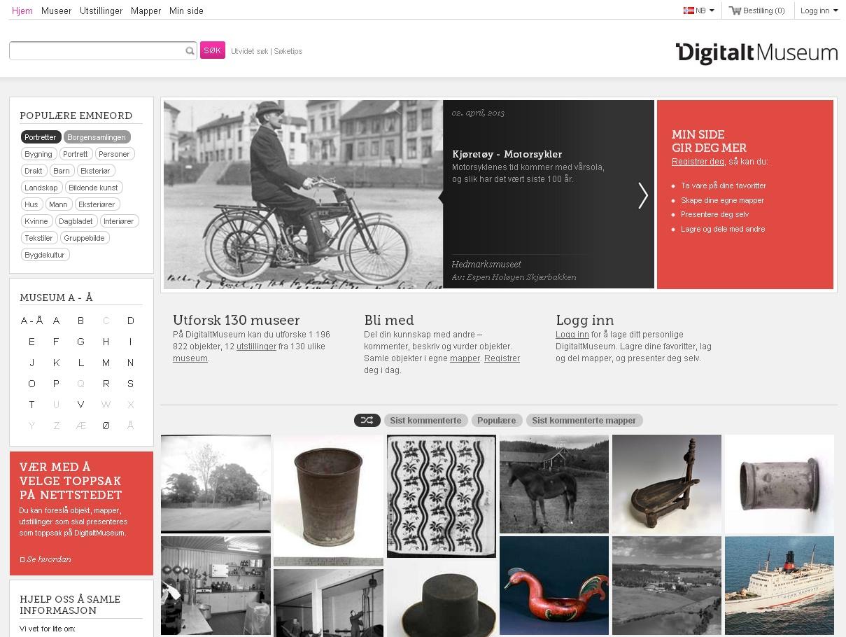 Stránky digitálního muzea jsou k dispozici ve dvou norských verzích, švédštině a angličtině. Uživatel si může vytvořit osobní profil dle svých preferencí a následně obsah sdílet.