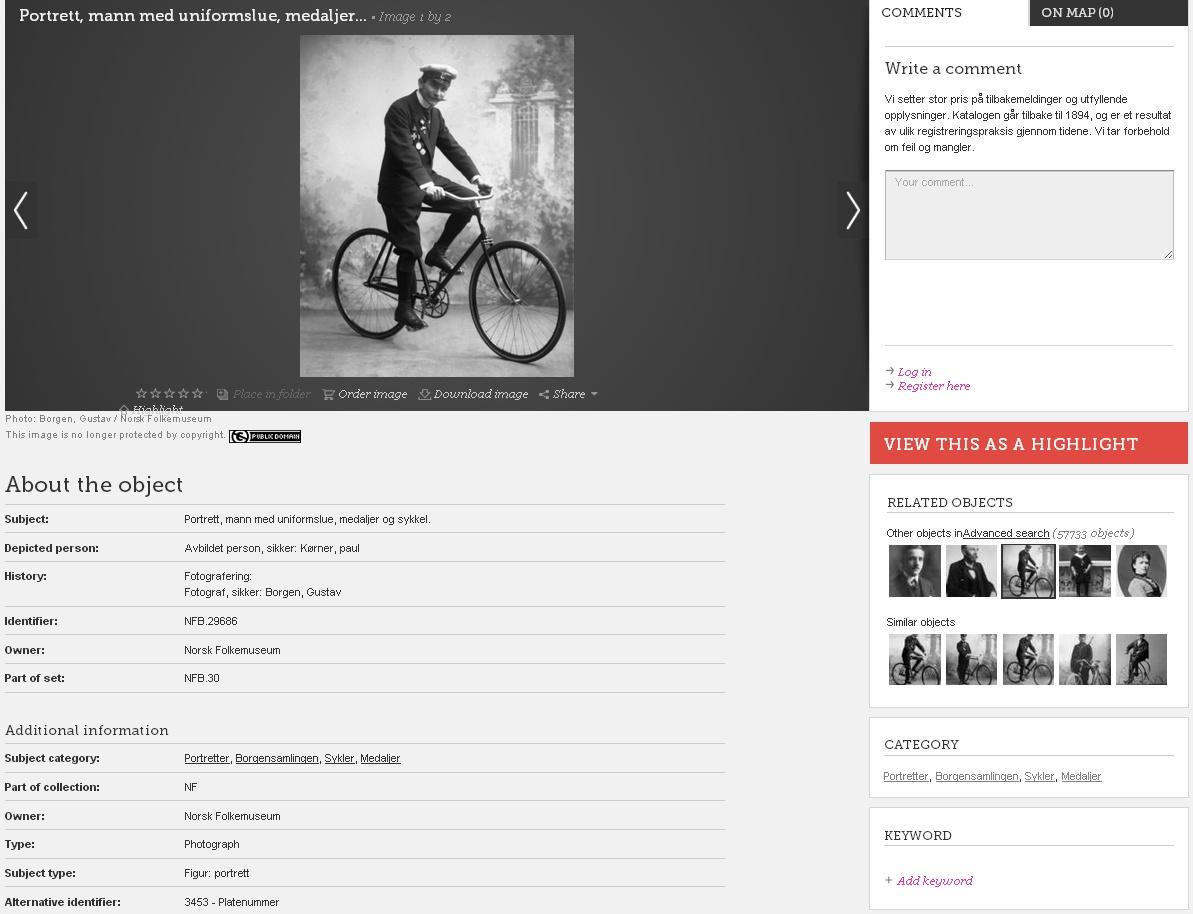 Pomocí automatické nabídky souborů s podobnou tematikou můžete třeba studovat, jak se v průběhu let měnily bicykly. Vždy s vydatnými metadaty.