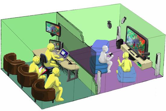 Ilustrácia laboratória testovania použiteľnosti. Pozorovacia (vľavo) a testovacia miestnosť (vpravo). (Watanabe, 2011)
