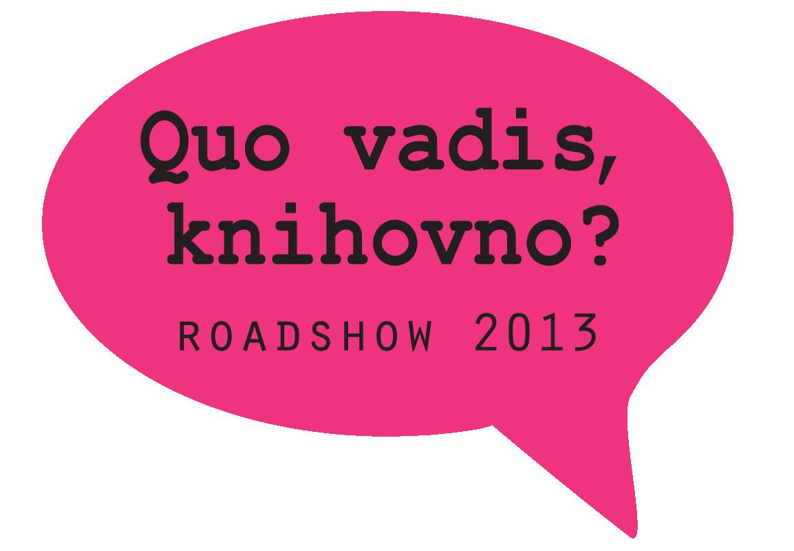 Logo roadshow Quo vadis, knihovno?